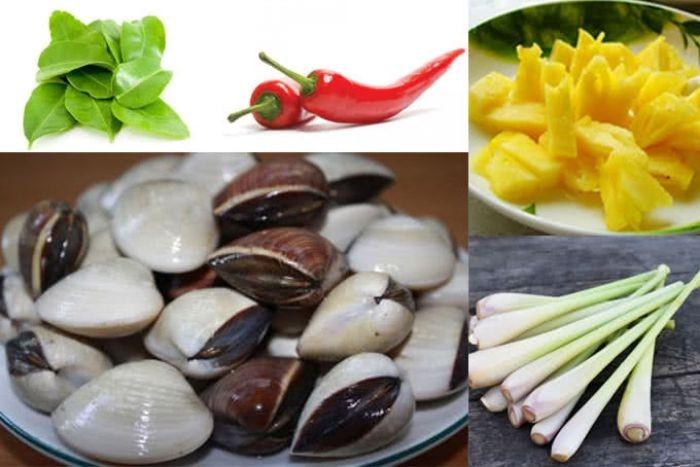 Nguyên liệu cần chuẩn bị để chế biến món ngao xào sả, ớt, dứa thơm ngon, hấp dẫn